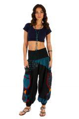 Pantalon femme ethnique et bouffant Bassila noir et bleu 313579