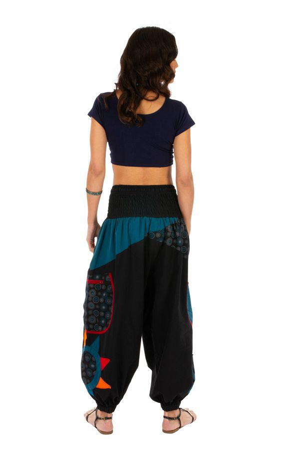 Pantalon femme ethnique et bouffant Bassila noir et bleu 313580
