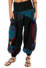 Pantalon femme ethnique et bouffant Bassila noir et bleu 313581