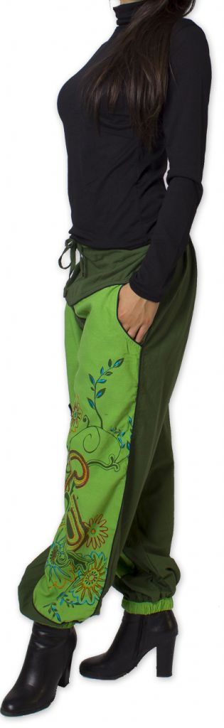 Pantalon Femme Ethnique et Coloré Narmadal Vert 275882