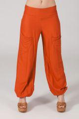 Pantalon femme fluide et ethnique rouille Cédric 318547