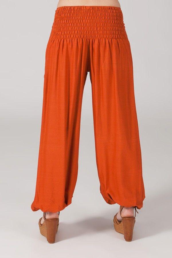 Pantalon femme fluide et ethnique rouille Cédric 318548