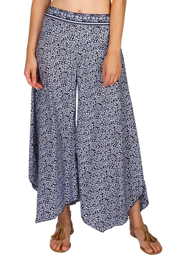 Pantalon femme fluide imprimé bleu et blanc avec une coupe large Cassy