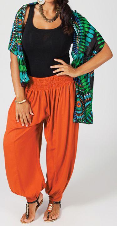 Pantalon femme grande taille type Aladin Edene Rouille 274803