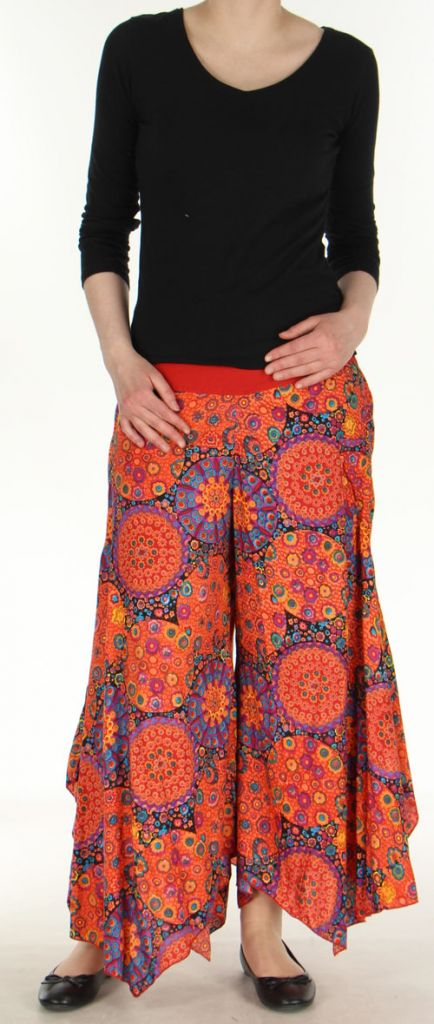 pantalon femme imprim coupe extra large orange ameline. Black Bedroom Furniture Sets. Home Design Ideas