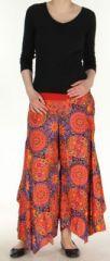Pantalon femme imprimé coupe extra large orange Ameline 270546