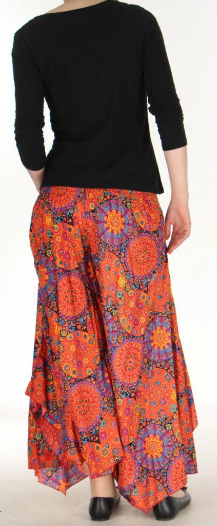 Pantalon femme imprimé coupe extra large orange Ameline