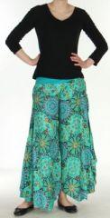 Pantalon femme imprimé coupe extra large turquoise Ameline 270544