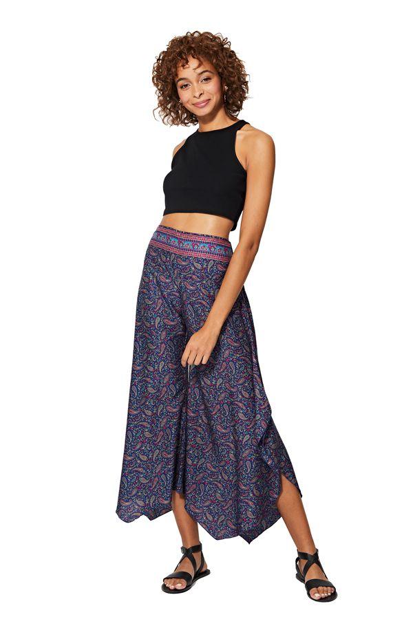 Pantalon femme imprimé ethnique fluide asymétrique Naora