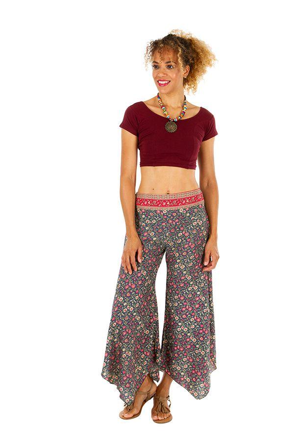 Pantalon femme imprimé fleuri dans les tons pastel Nadia 311683