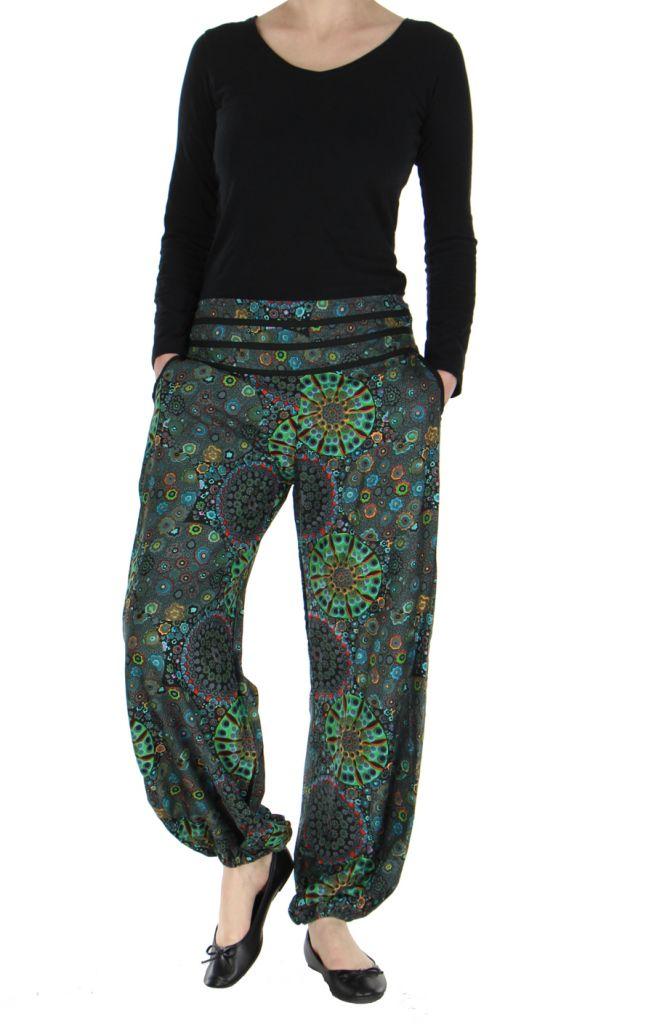 Pantalon femme imprimé noir Licia 268501