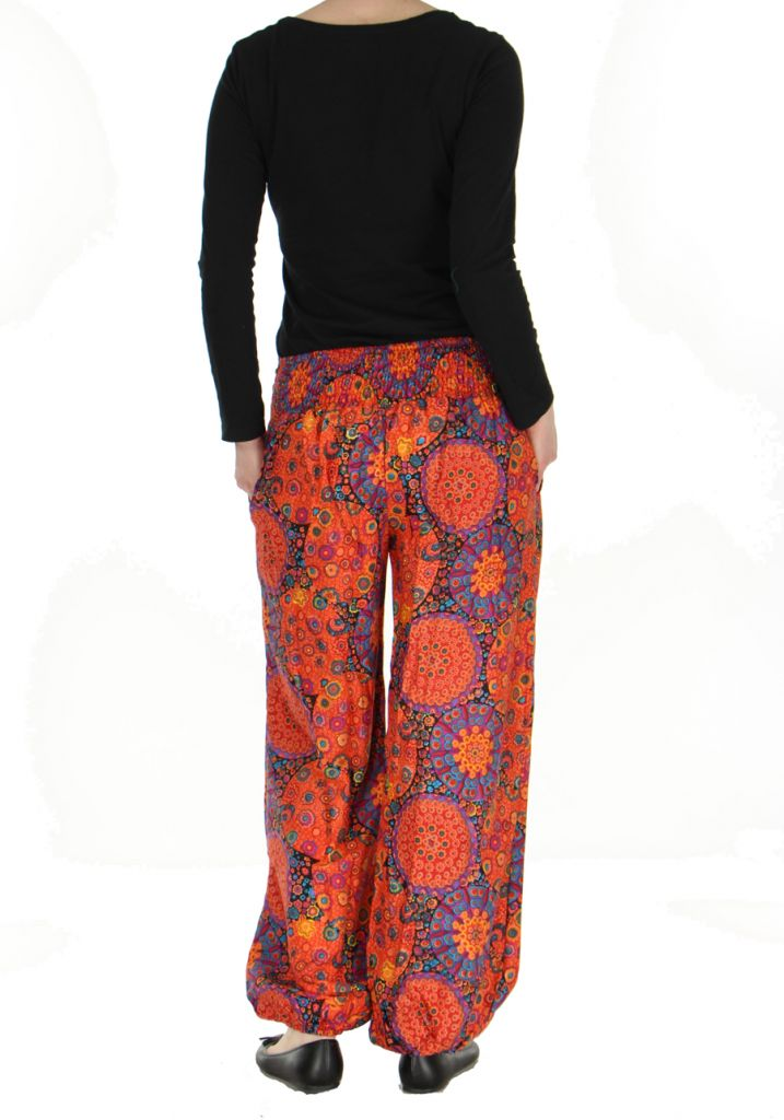 Pantalon femme imprimé orangé Licia