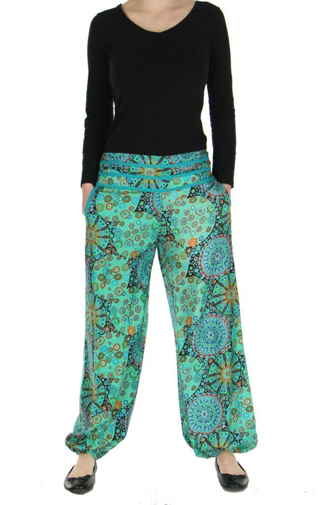 Pantalon femme imprimé turquoise Licia 268499