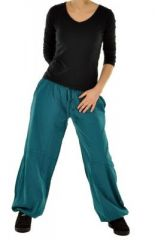 Pantalon femme large babohs bleu 245239