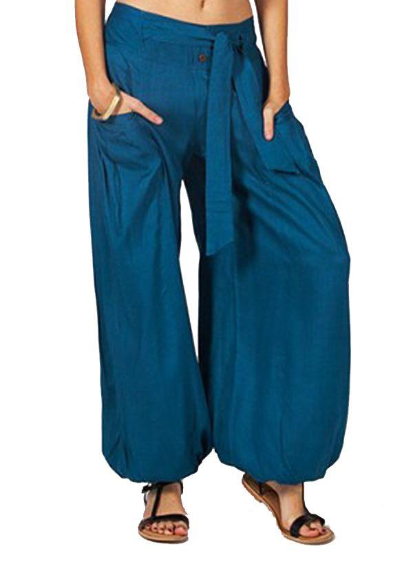 pantalon femme large et ethnique bleu cyril. Black Bedroom Furniture Sets. Home Design Ideas