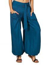 Pantalon femme large et ethnique bleu Cyril 282484