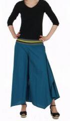 Pantalon femme large et original linopi bleu 249931