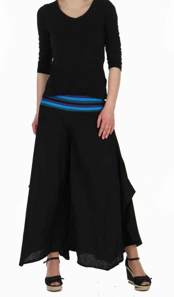 Pantalon femme large et original linopi noir et bleu 249932