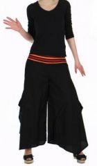 Pantalon femme large et original linopi noir et rouge 249934