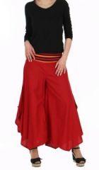 Pantalon femme large et original linopi rouge 249930