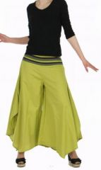 Pantalon femme large et original linopi vert 249926