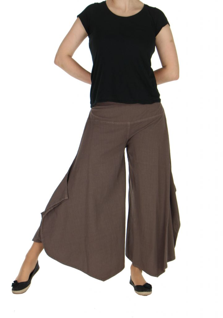 Pantalon femme large et original pike marron 262212