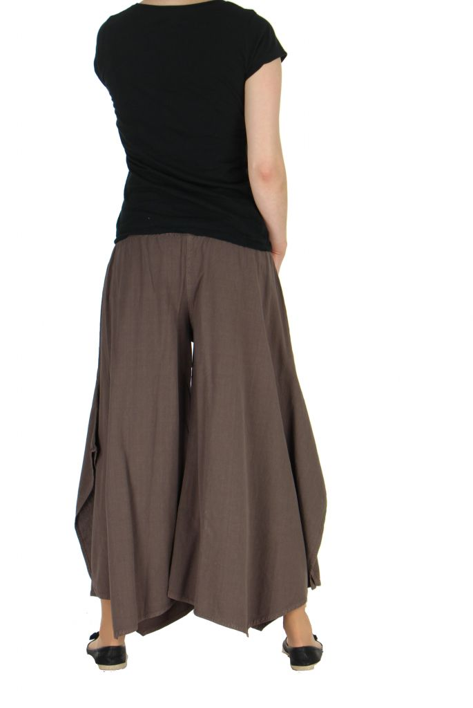 Pantalon femme large et original pike marron 262213