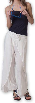Pantalon femme large ethnique et original Blanc Viet 273638