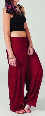 Pantalon femme large Ethnique et Original Giovan Bordeaux 274668