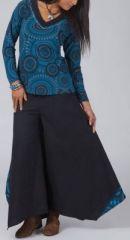 Pantalon femme large pour l\'hiver effet papillon noir et bleu Louka