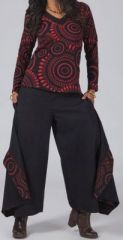 Pantalon femme large pour l\'hiver effet papillon noir et rouge Louka