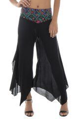 Pantalon femme léger en Coton Original et Asymétrique Gaetan Noir 294996