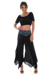 Pantalon femme léger en Coton Original et Asymétrique Gaetan Noir 294997