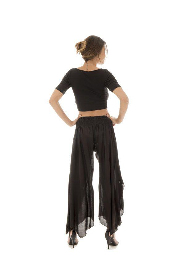 Pantalon femme léger en Coton Original et Asymétrique Gaetan Noir 295001