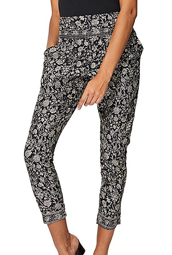 Pantalon femme léger slim imprimé fleurs bohème été Norie