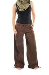 Pantalon femme marron large effet bouffant Denima 304755