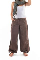 Pantalon femme marron large effet bouffant Denima 304756