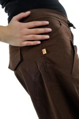 Pantalon femme marron large effet bouffant Denima 304757