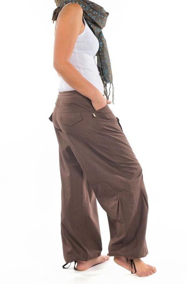 Pantalon femme marron large effet bouffant Denima 304759
