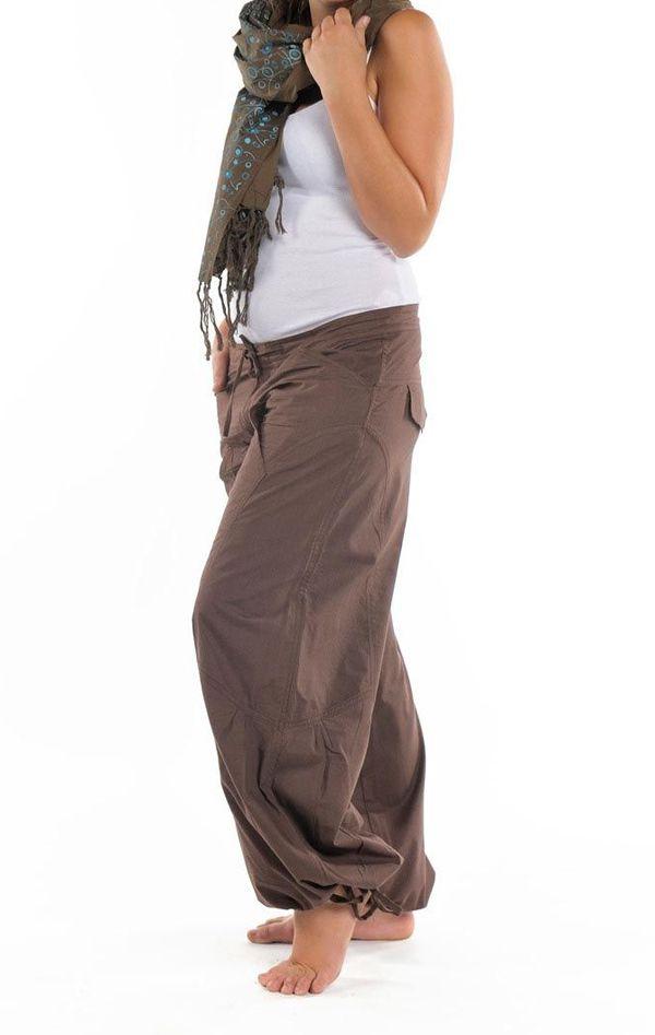 Pantalon femme marron large effet bouffant Denima 304760