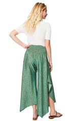 Pantalon femme original fluide à imprimé bohème Nanaka