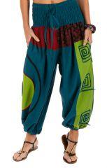 Pantalon femme pas cher ethnique et bouffant Kinkala bleu 313983