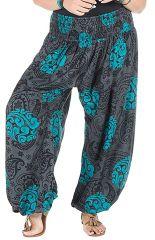 Pantalon femme ronde avec ceinture smocks gris et bleu Galla 295153