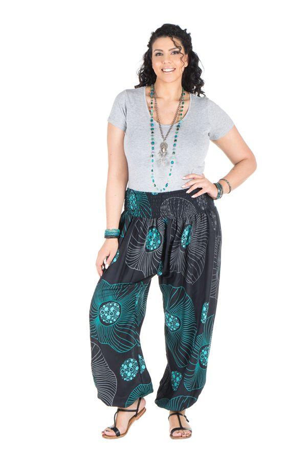 pantalon femme ronde coupe large et imprim bleut galla. Black Bedroom Furniture Sets. Home Design Ideas