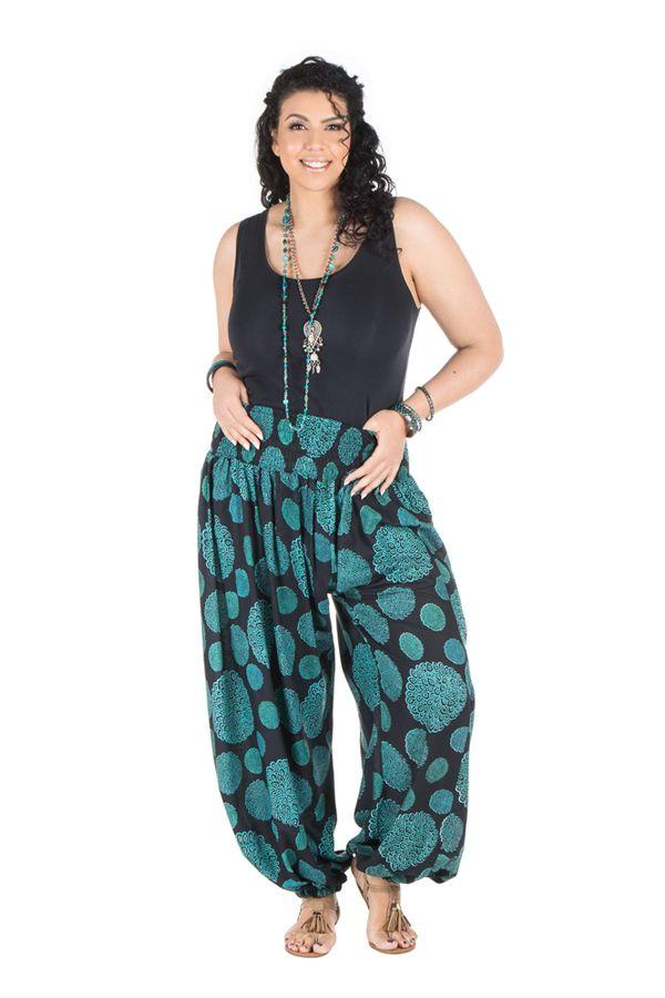 pantalon femme ronde style vintage et imprim bleu galla. Black Bedroom Furniture Sets. Home Design Ideas