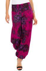 Pantalon femme rose ample imprimé de fleurs Carmine