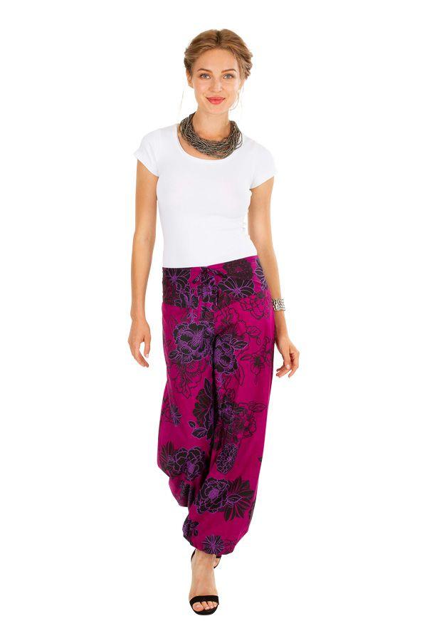 Pantalon femme rose ample imprimé de fleurs Carmine 305975