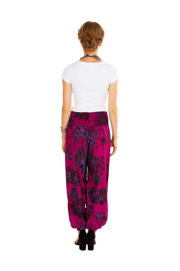 Pantalon femme rose ample imprimé de fleurs Carmine 305976