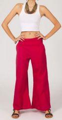 Pantalon femme rouge effet évasé en coton léger Gaspa 270732
