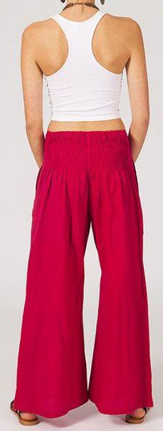 Pantalon femme rouge effet évasé en coton léger Gaspa